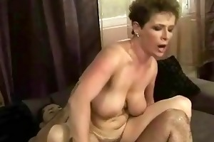granny receives her bushy moist cum-hole screwed