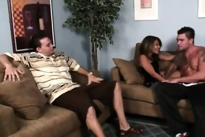 a poker game gets eager when hubby bets his wife