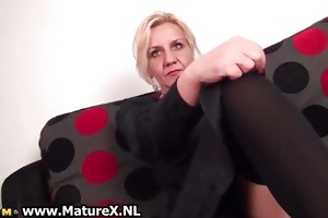 sexy golden-haired older woman stripping part5
