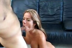golden-haired cowgirl fucking and engulfing