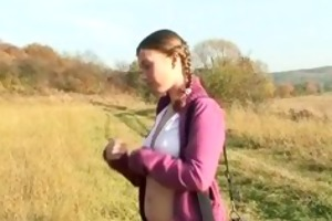legal age teenager angel on a hike outdoor