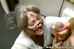 breasty granny tugging on ramrod for favourable