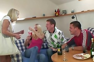 partying chaps screw drunk blond granny