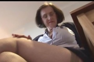 breasty aged secretary with hirsute pussy