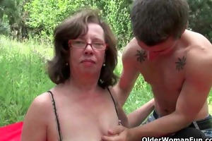 aged mammas getting drilled outdoors