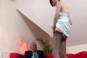 sexually excited woman in nylons with a aged lad