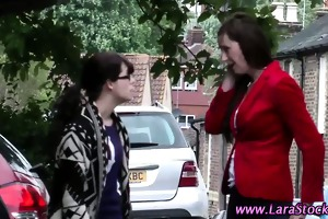 stockinged older amateur spanks lesbian chick