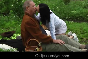 old guy meals and copulates with hawt teeny in