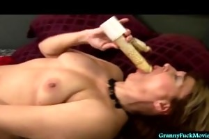 granny cumming with electric dong