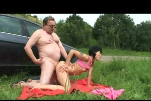 grand-dad giving knob to hottie